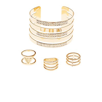Embellished Rings & Cuff Bracelet Set