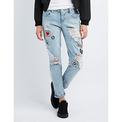 Destroyed Patches Boyfriend Jeans | Charlotte Russe
