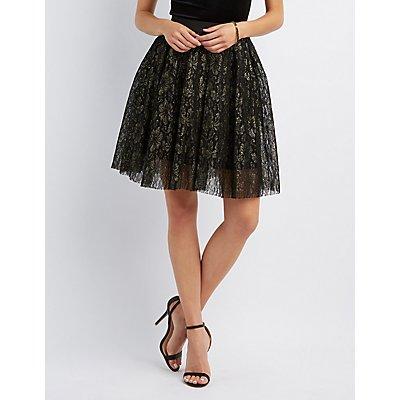 Lace Pleated Midi Skirt