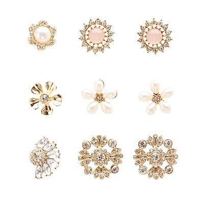 Embellished Floral Stud Earrings - 6 Pack