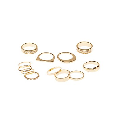Embellished Stackable Rings - 10 Pack