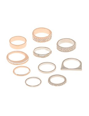 Embellished Stackable Rings - 10 Pack