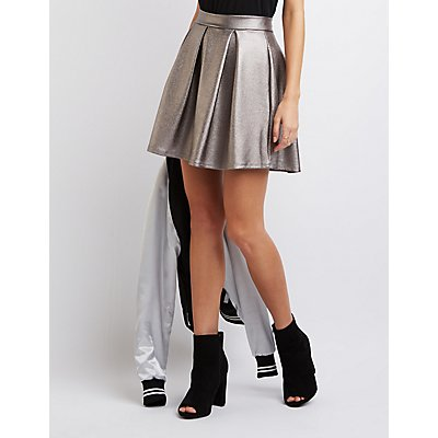 Metallic Pleated Skater Skirt