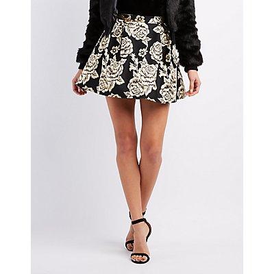 Floral Brocade Skater Skirt