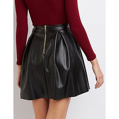 Pleated Faux Leather Skater Skirt