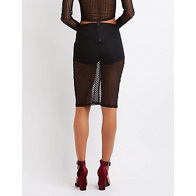 Shadow Stripe Pencil Skirt