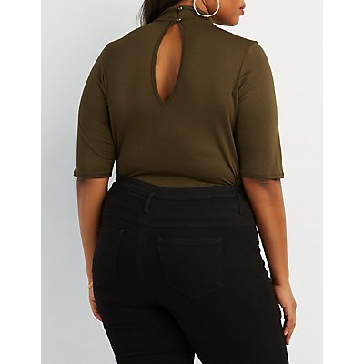 Plus Size Strappy Mock Neck Bodysuit