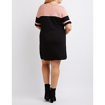 Plus Size Football Stripe T-Shirt Dress