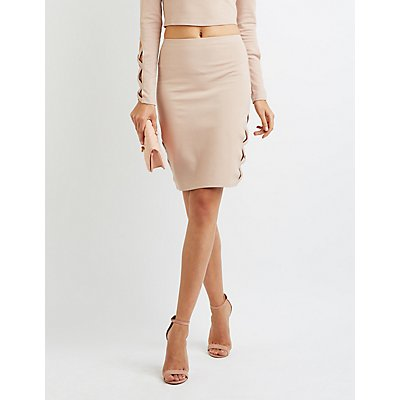 Lattice-Inset Pencil Skirt