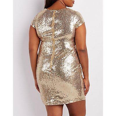 Plus Size Sequin V-Neck Bodycon Dress
