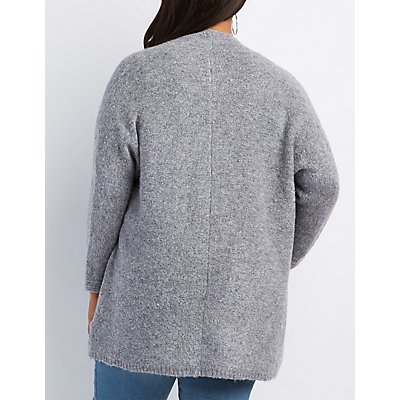 Plus Size Fuzzy Blanket Cardigan
