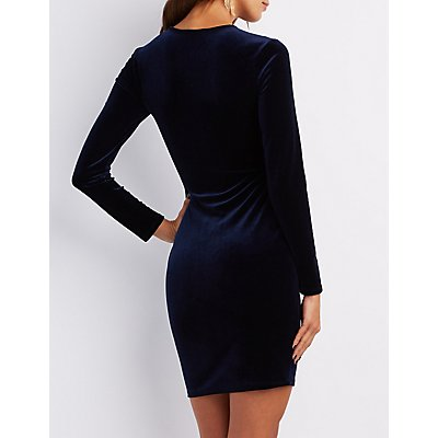 Velvet Lace-Up Bodycon Dress