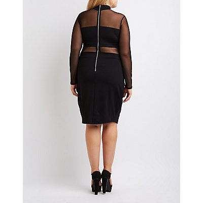 Plus Size Mock Neck Mesh-Trim Bodycon Dress