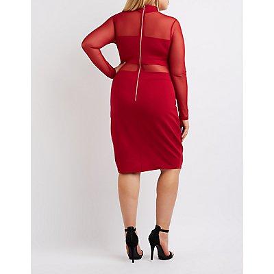 Plus Size Mock Neck Mesh-Trim Bodycon Dress