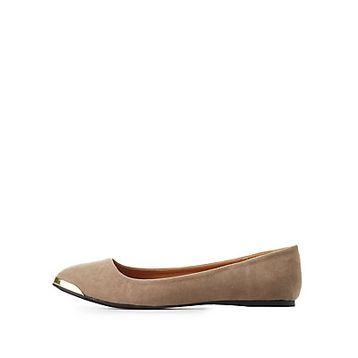 Qupid Gold-Tipped Pointed Toe Flats