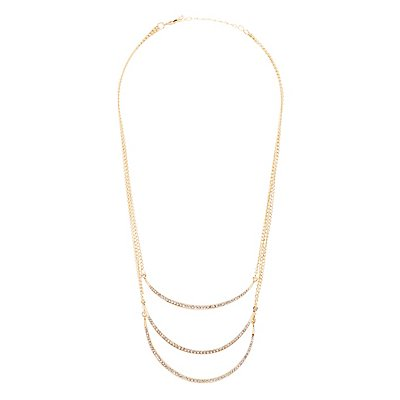 Rhinestone Curved Bar Layered Necklace