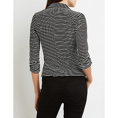 Striped Ruched Sleeve Blazer
