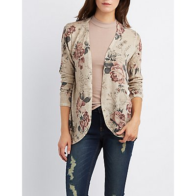Floral Print Cocoon Cardigan