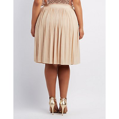 Plus Size Shimmer Pleated Midi Skirt