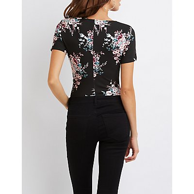 Floral V-Neck Bodysuit