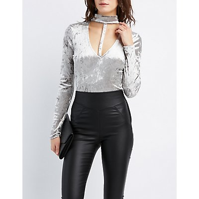 Mock Neck T-Strap Bodysuit