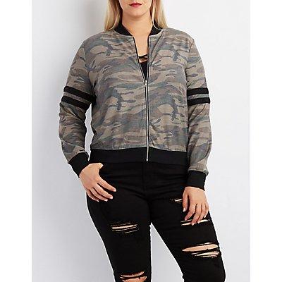 Plus Size Camo Varsity Stripe Bomber Jacket