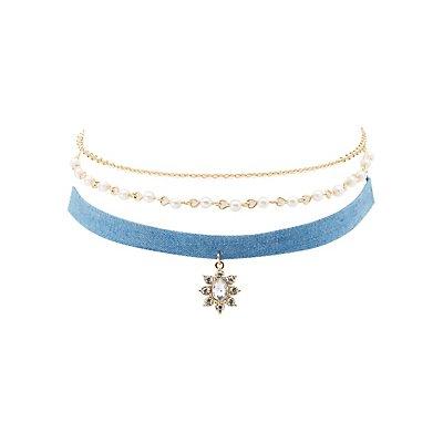 Layered Chambray Choker Necklace