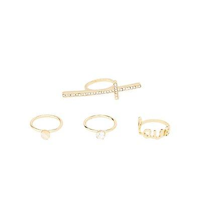 Embellished Stackable Rings - 4 Pack