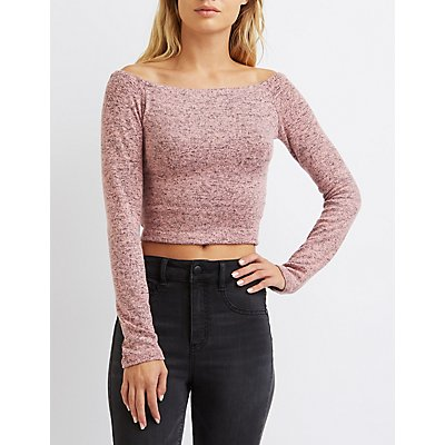 Hacci Off-The-Shoulder Crop Top