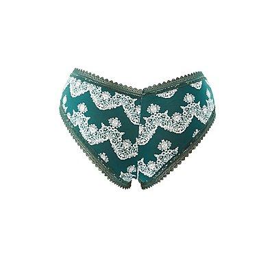 Plus Size Printed Lace-Trim Cheeky Panties