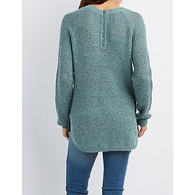 Shaker Stitch Zip-Back Sweater