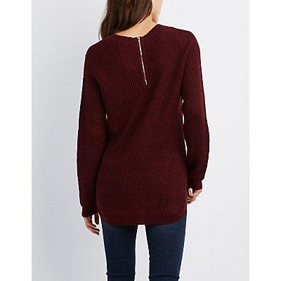 Shaker Stitch Zip-Back Sweater