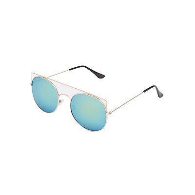 Round Reflective Aviator Sunglasses