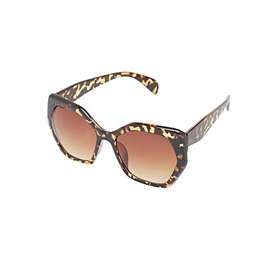 Tortoise Shell Geometric Sunglasses