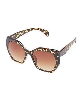 Tortoise Shell Geometric Sunglasses