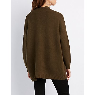 Dropped Shoulder Open Cardigan