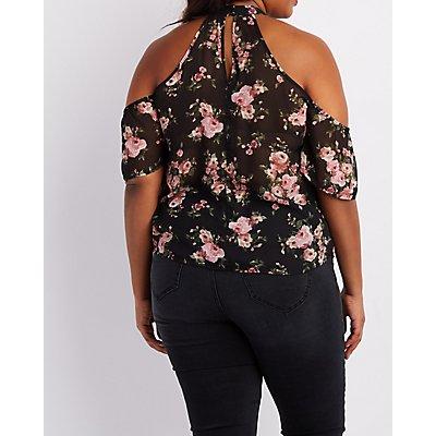 Plus Size Floral Caged Cold Shoulder Top