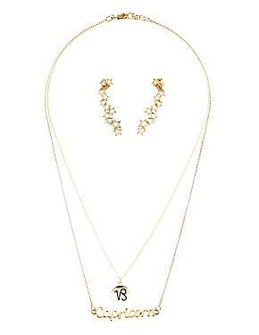 """Capricorn"" Zodiac Necklaces & Ear Cuffs Set"