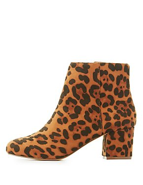 Leopard Low Heel Ankle Booties