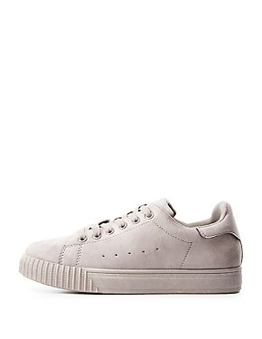 Qupid Faux Suede Lace-Up Sneakers