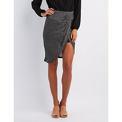 Shimmer Knotted Tulip Skirt