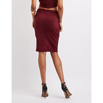 Faux Suede Lattice-Inset Pencil Skirt