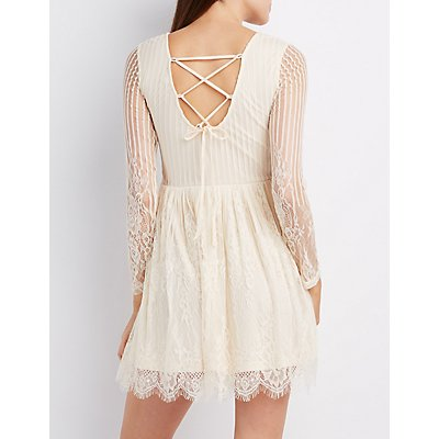 Lace-Up Back Lace Skater Dress