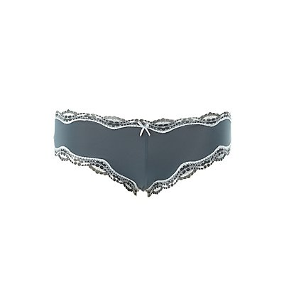 Plus Size Caged Lace-Trim Cheeky Panties