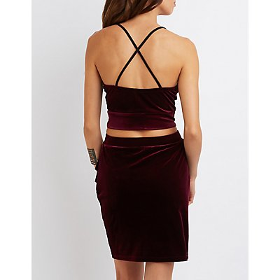 Velvet Lace-Trim Crop Top