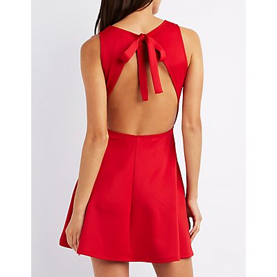 Tied Open Back Skater Dress