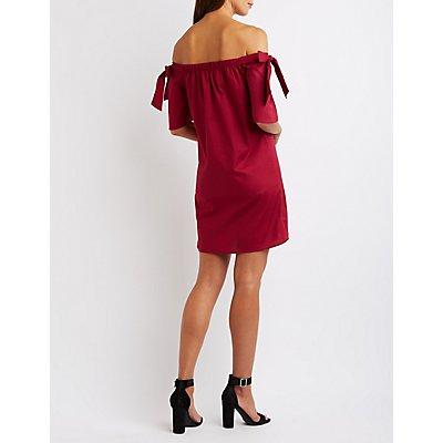 Tied Off-The-Shoulder Shift Dress