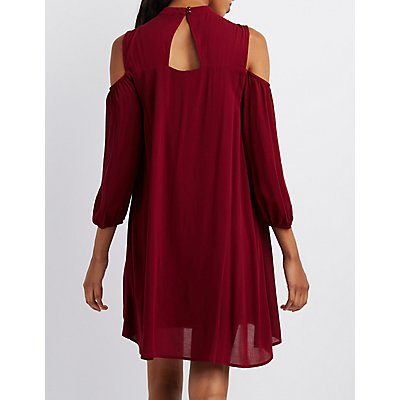 Crochet-Yoke Cold Shoulder Shift Dress