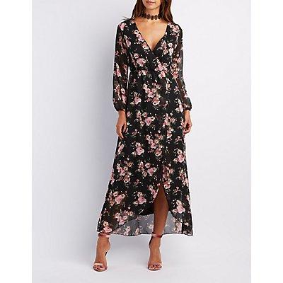 Floral Surplice Maxi Dress