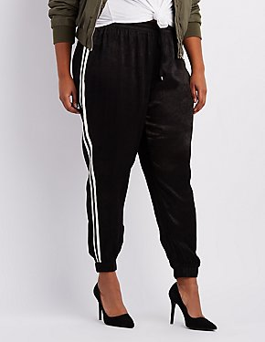 Plus Size Striped-Side Silky Jogger Pants